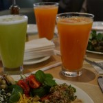 Luncheon with fresh tropical juices at the Tomie Ohtake institute restaurant