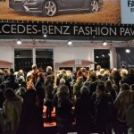 Waiting to get into the Mercedes-Benz Fashion Pavillion