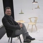 Sami Kallio and his furniture and lamps at the Swedish Midsummer