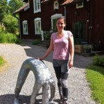 Maria and her Human Ostrich scupture at Gryts Prästgård
