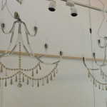 Laser cut flat cristal chandeliers for the interior of a night club by