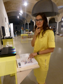 Aljona Sokolnikova - Sveta - from Moscow Design Museum learning about the products in the exhibition