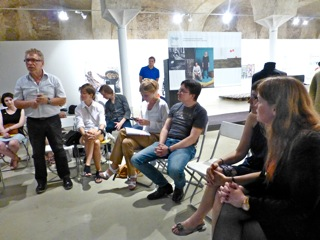 Round-table discussion at Vinzavod, Yuri Nazarov president of Russian Designers speaking