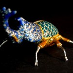 beetle, made in the traditional Kutani-yaki techniques and colorings