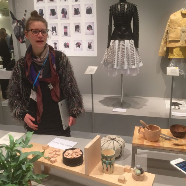 Kristina Schultz with her nomadic objects for Ung Svensk Form