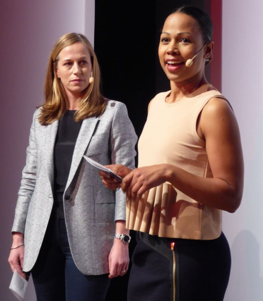 Alice Bah Kuhnke opens the Fashion week, here with Emma Ohlson, secretary general of ASFB