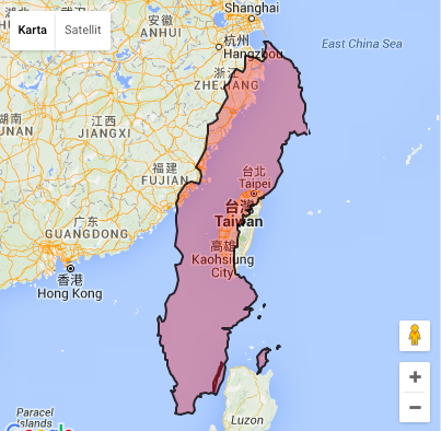 Sweden put on top of Taiwan -see the areal difference