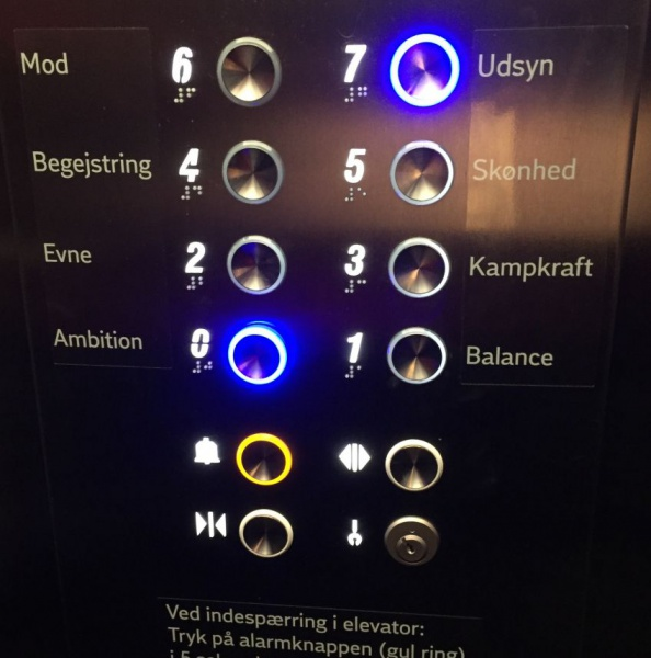 Elevator buttons in Industrins hus