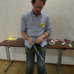 Niklas Bergh prepares his Swedish Flag decoratatio for Finnkampen
