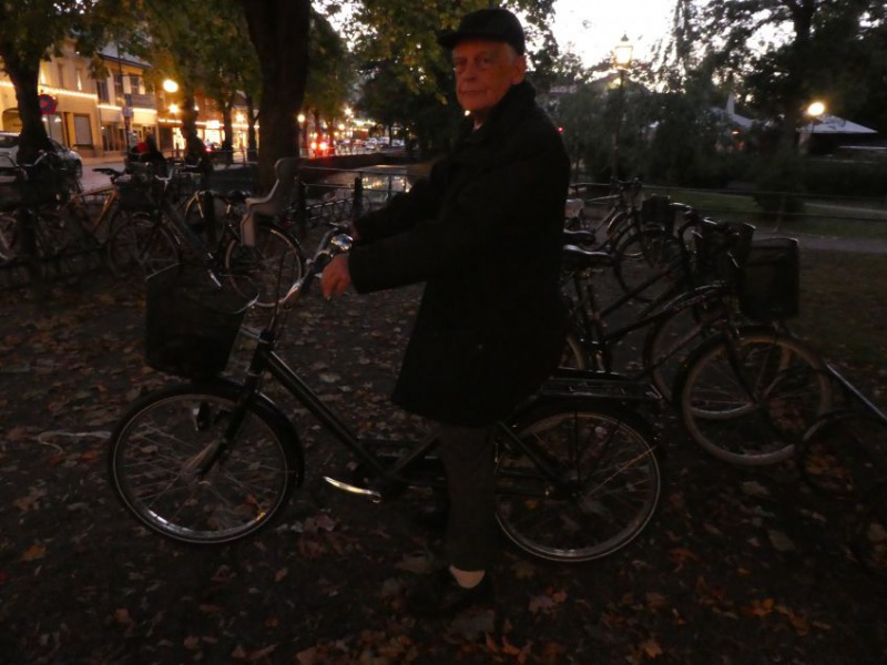 Jan Torgny with his own bicycle invention -you can walk and bike thanks to the angle, a perfect way to keep balance