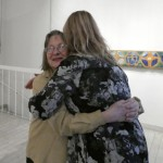 Kerstin Wickman, soon to celebrate her own 75 years, gets a premature hug