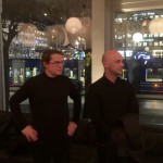 Ola Rune and Mårten Claesson explaining Nobis and their new collection for Dux in the atrium