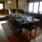 The dinner setting for 8 people inside Siljansgården